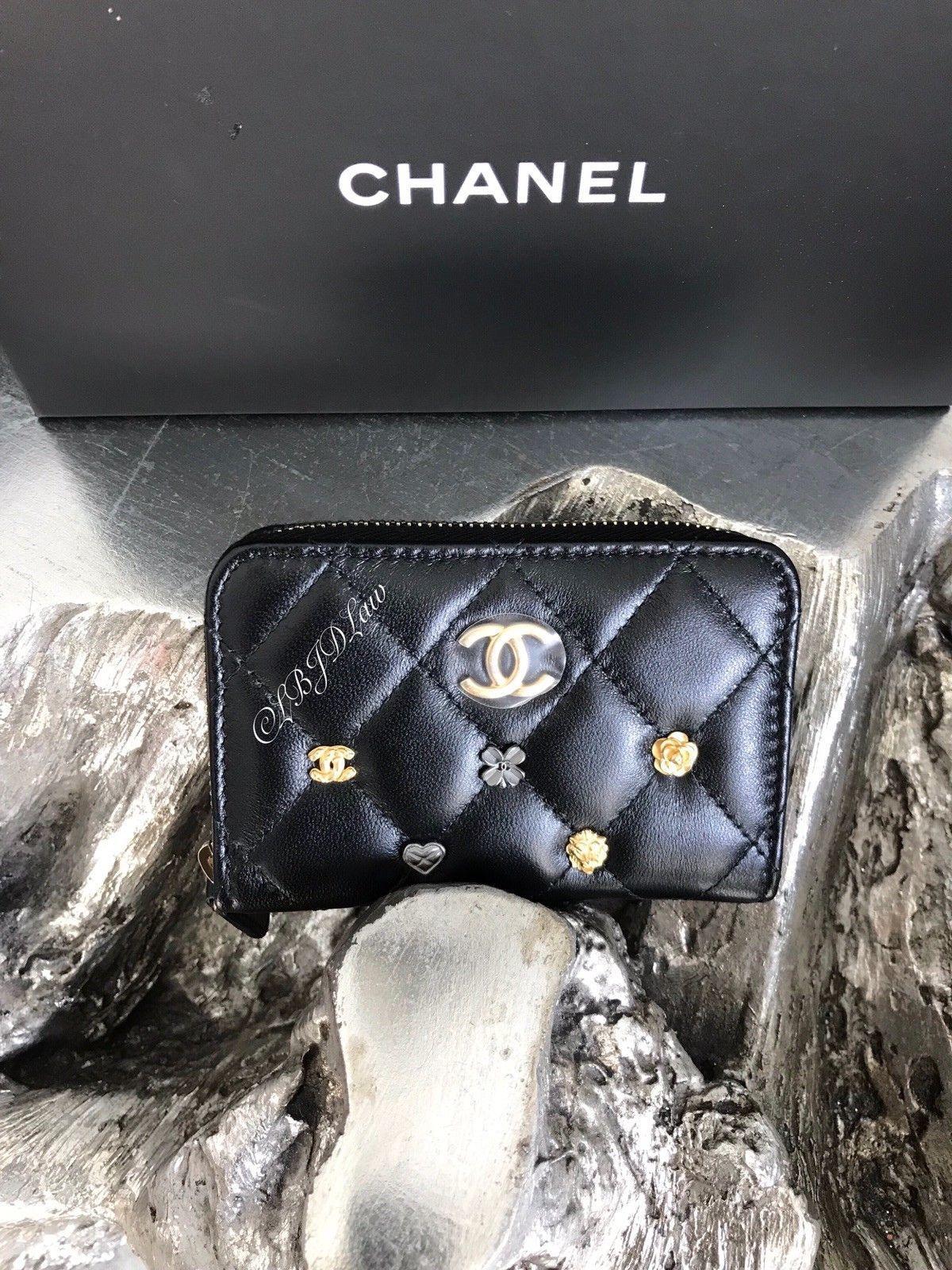 9d3ad6e5804c NWT CHANEL Lucky Charms Coin Purse Card Holder Case 2018 Black Lamb  Mademoiselle | eBay