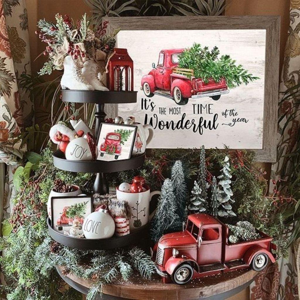 31 Fabulous Winter Home Decor Ideas Christmas red truck