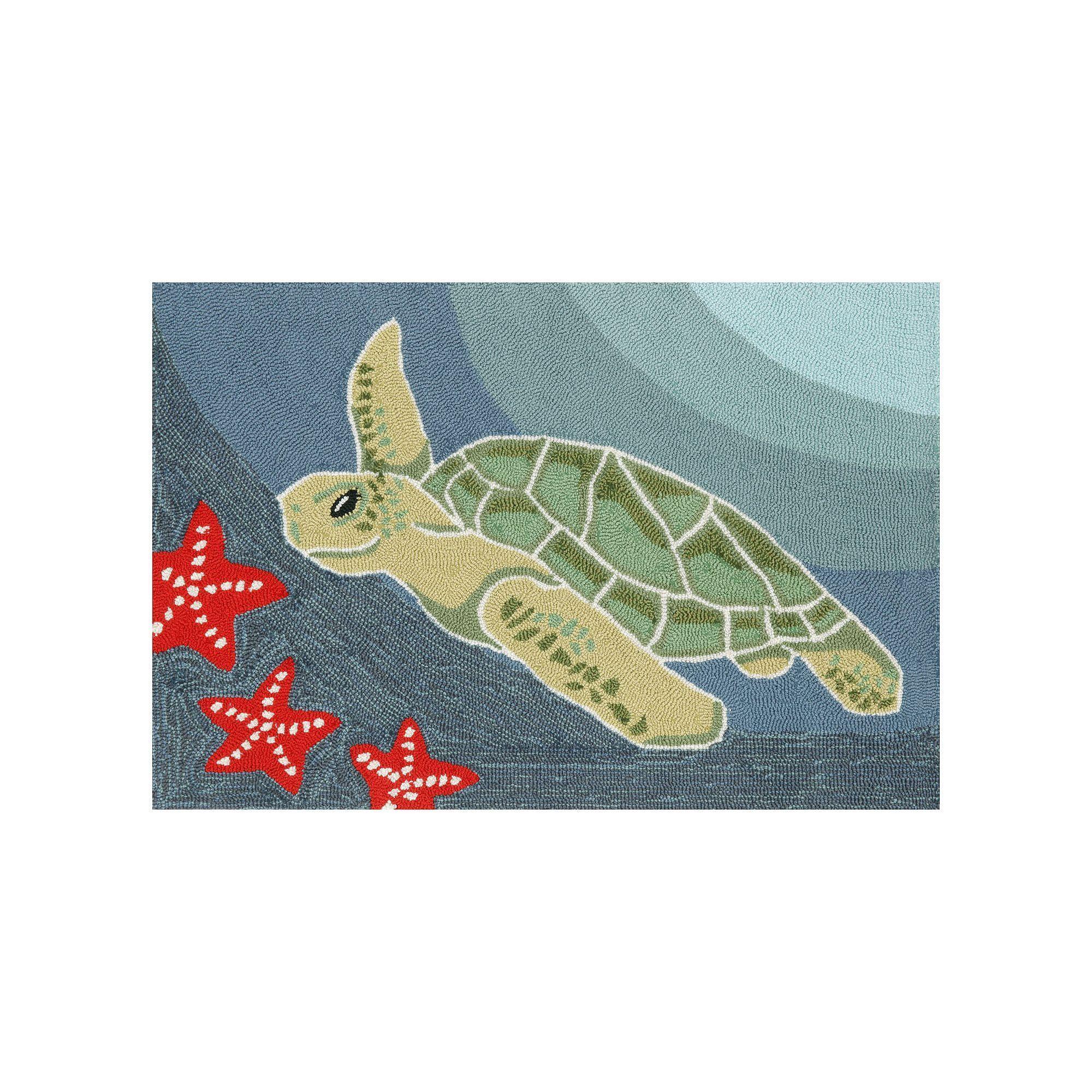 Liora Manne Trans Ocean Imports Frontporch Sea Turtle Indoor Outdoor
