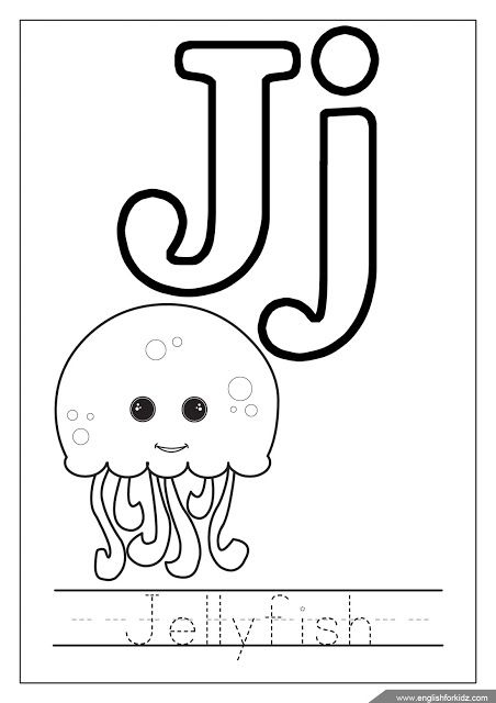 Alphabet coloring page, letter j coloring, j is for jellyfish ...