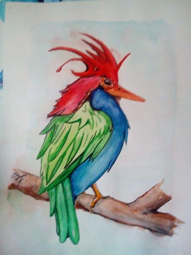 Птичка из акварели
