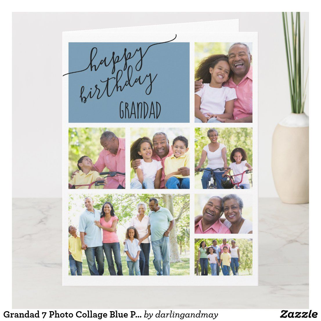 Grandad 7 Photo Collage Blue Personalized Birthday Card Zazzle Com Personalized Birthday Cards Birthday Cards Birthday Cards For Mom