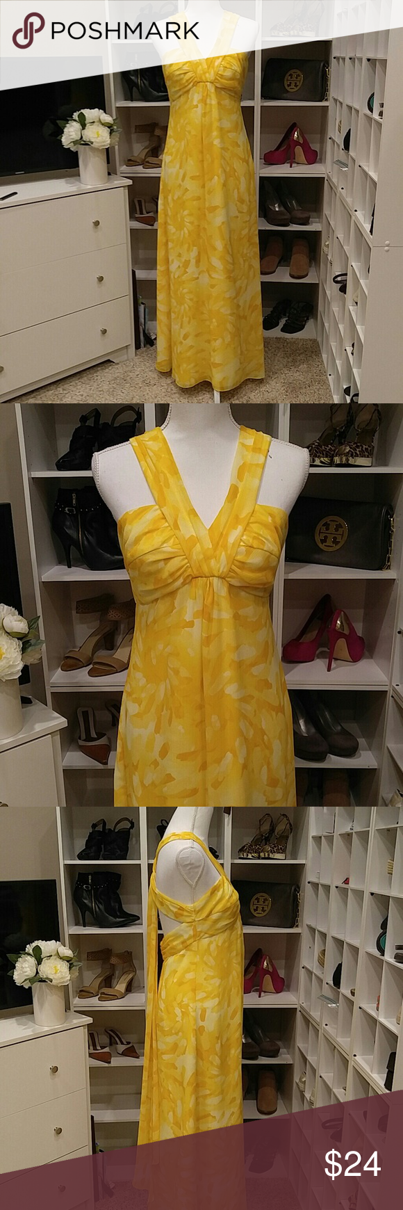 Davids bridal yellow strappy maxi dress be a goddess in this