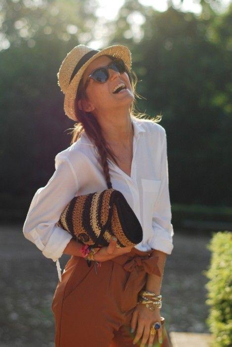 the perfect outfit  Clutch de fibra natural 3 tonos