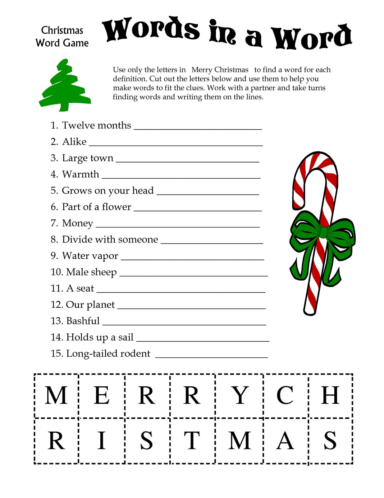 Free Printable Games For Adults Printable Christmas Games Christmas Games For Kids Christmas Words
