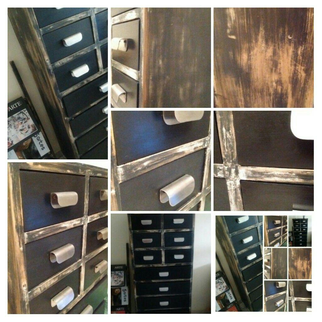Mueble Intervenido En Color Negro Pleno Y T Cnica De Decapado By  # Muebles Liliana