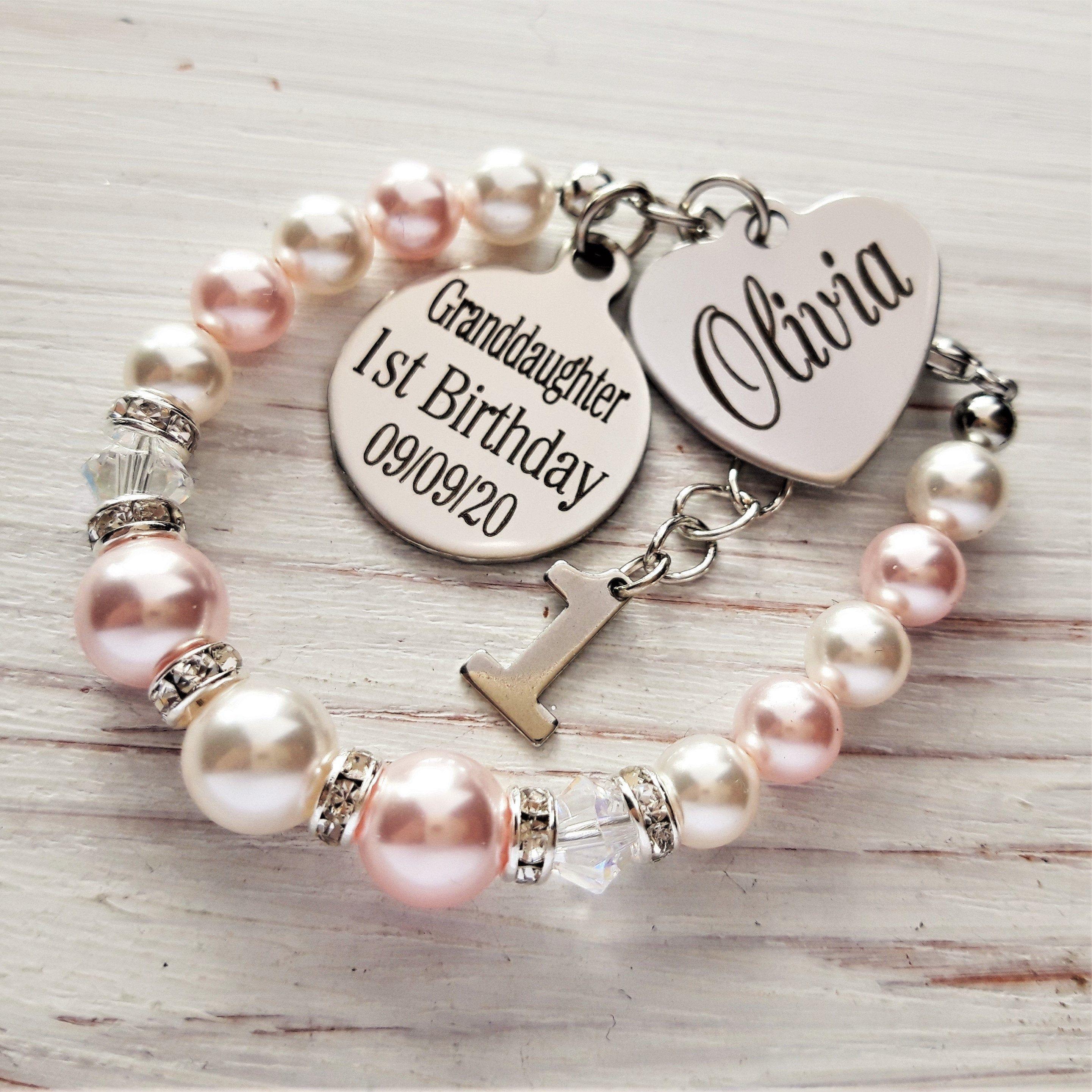 1st Birthday Gift For Granddaughter Personalized Bracelet 1st Birthday Bracelet Baby S 1st Birthday Granddaughter 1st Birhday Jewelry 1st Birthday Gifts Birthday Bracelet First Birthday Gifts
