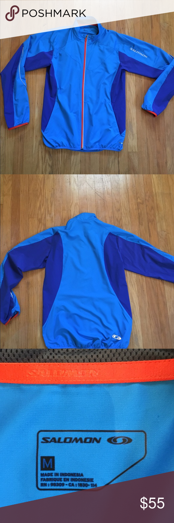 1d9ee33f96 Salomon lightweight running jacket Brand new without tags, men's size  medium Salomon lightweight running jacket. Reflective logos front & back  and on ...