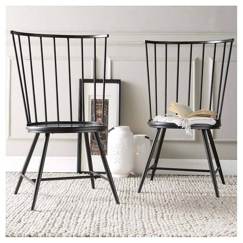 Norfolk High Windsor Dining Chair Metal/Black (Set of 2) - Inspire Q