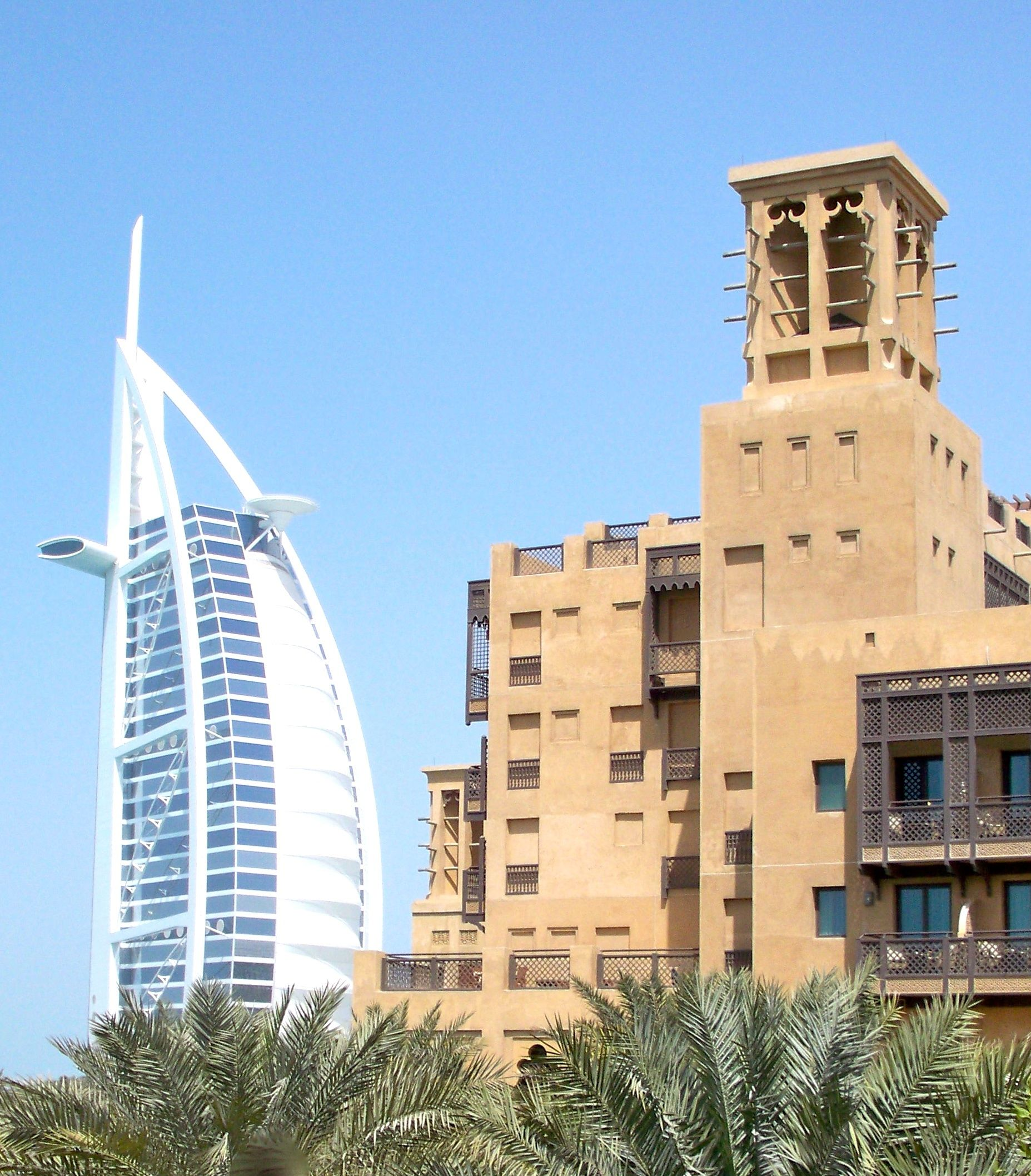 A view of the old and new in Dubai, United Arab Emirates.