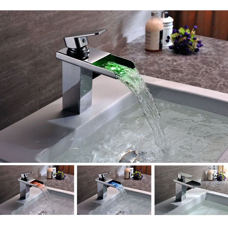 Single Lever LED Color Waterfall Bathroom Sink Basin Mixer Tap ...
