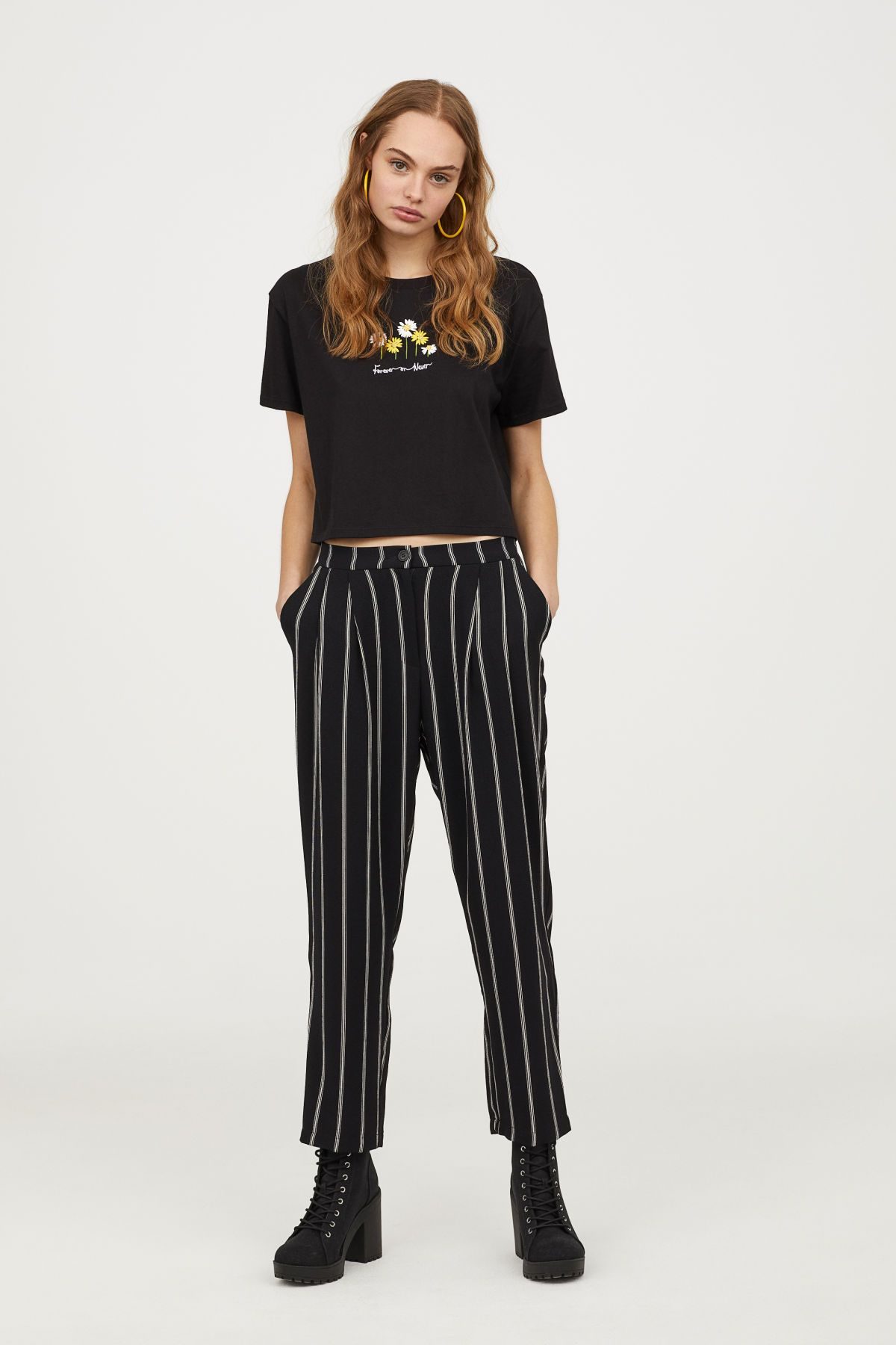 61cde273a6e3 Wide-leg Pants | Black/white striped | DIVIDED | H&M US | fashion in ...