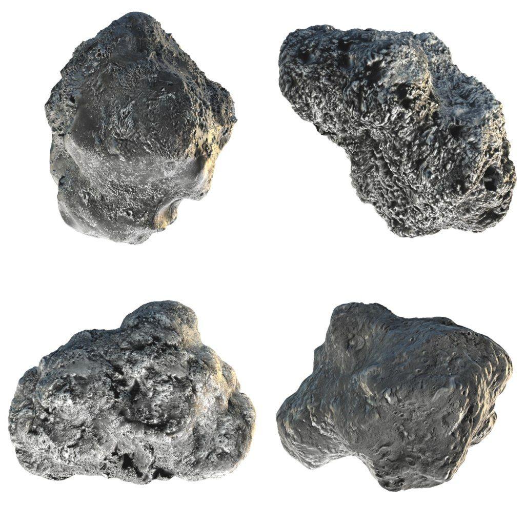 3D Model Asteroids (704) Interamnia, Patientia, Hermione