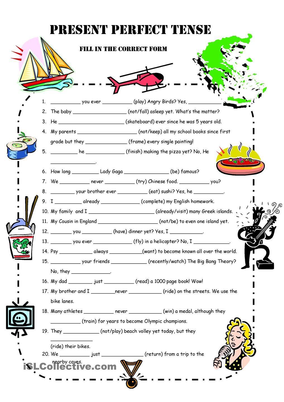 A1 Present Perfect Simple Practice   Engleski   Pinterest ...