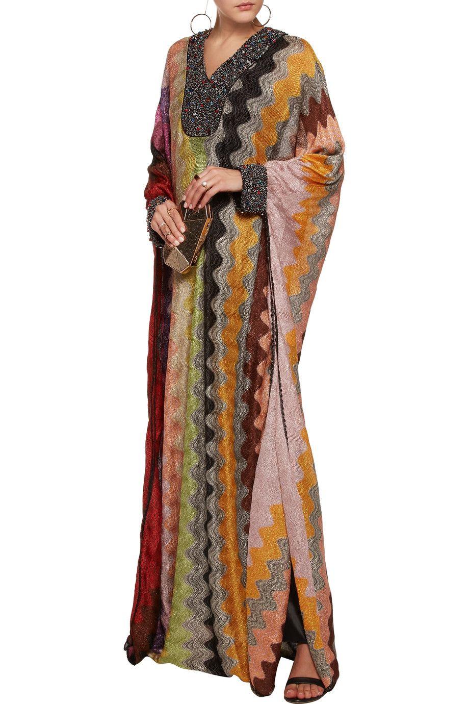 Missoniembellished metallic crochetknit maxi dress moda