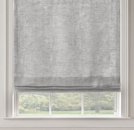 Rh S Stonewashed Sheer Linen Flat Roman Shade Highly Functional And Aesthetically Clean Our Custom Flat Roman Flat Roman Shade Roman Shades Sheer Roman Shades