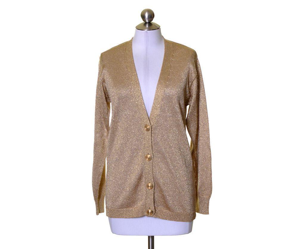 Breckenridge Metallic Gold Smooth Knit V-Neck Cardigan Sweater ...