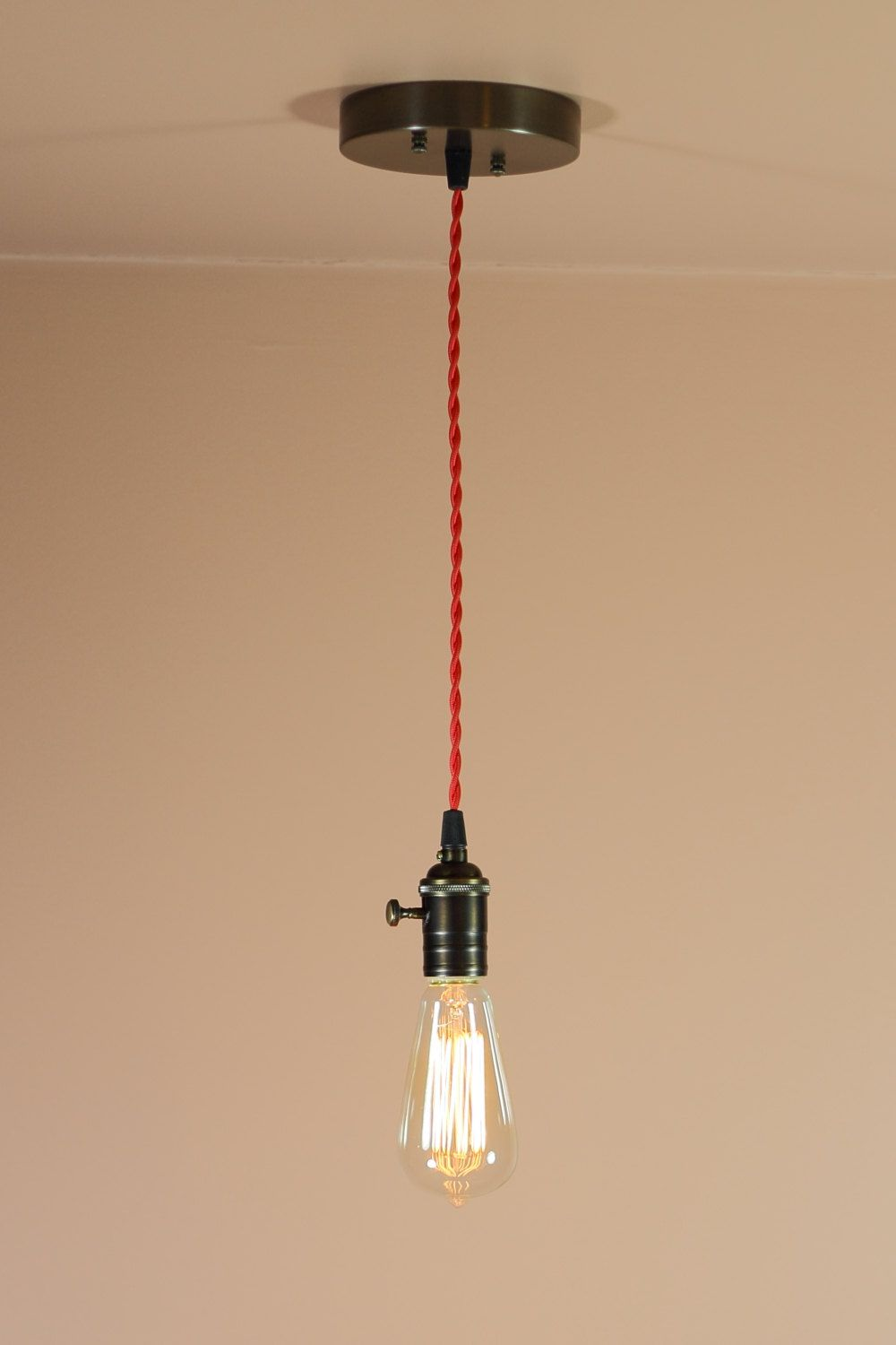 bare bulb lighting. Bare Bulb Pendant Light - Red Or Brown Twisted Wire Oil Rubbed Bronze Finish Edison Bulb. $88.00, Via Etsy. CHANGE THE CORD Lighting