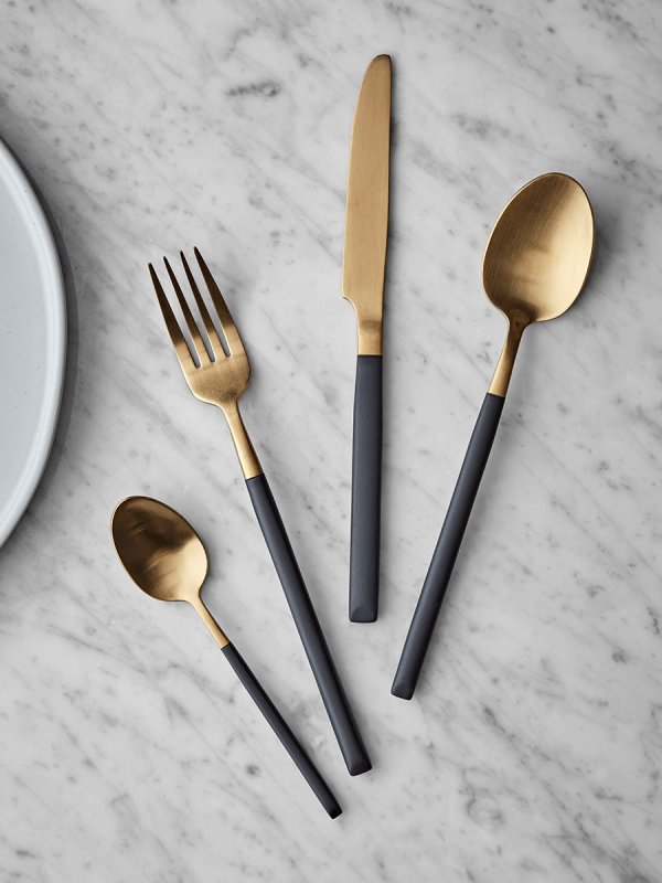 NEW Black & Brushed Gold Cutlery Set New Indoor Living