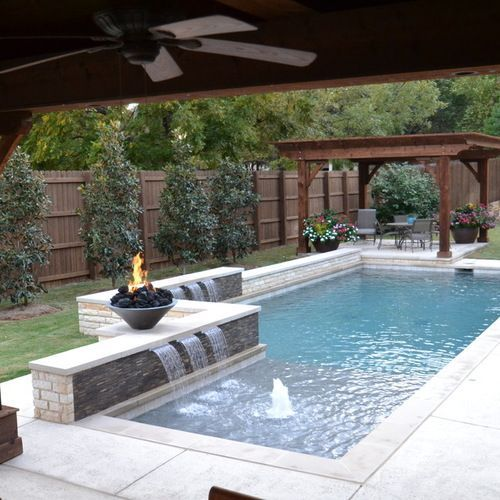 Swimming Pool Ideas kidney shaped swimming pool with sanded brick patio and hedge Affordable Premium Small Dallas Small Plunge Rectangular Pool Design Ideas Remodels Photos