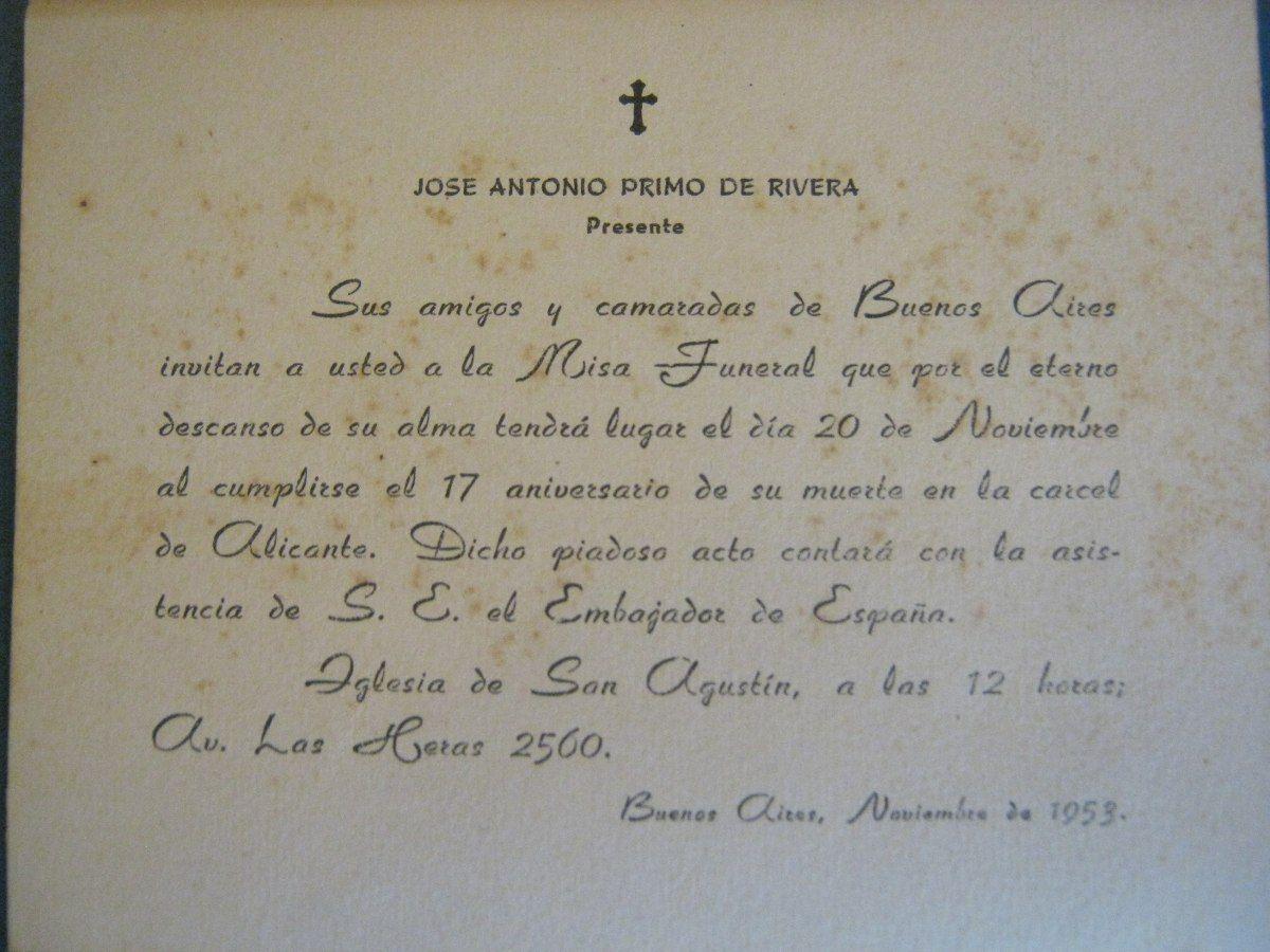Jose Antonio Primo De Rivera Misa en Bs. As 1953