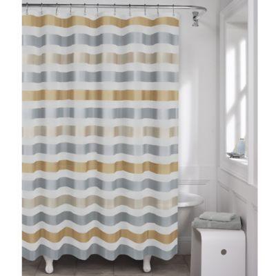 Maytax Dayton Metallic Stripe PEVA Shower Curtain