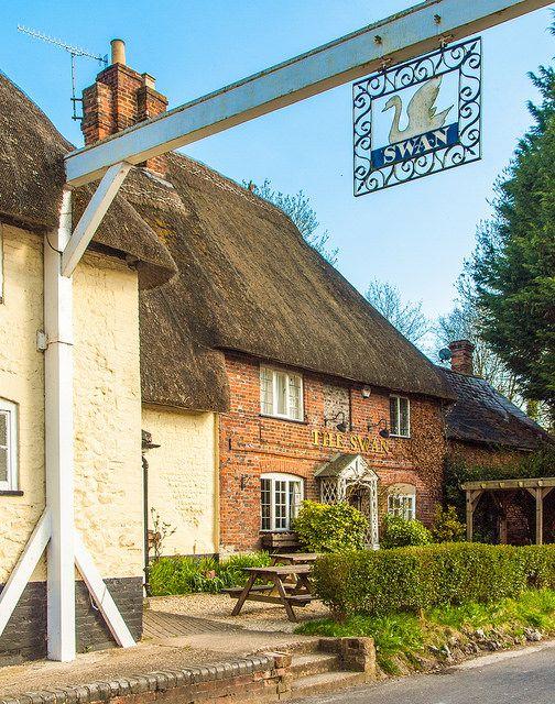 The 17th century Swan Inn at Longstreet in Wiltshire