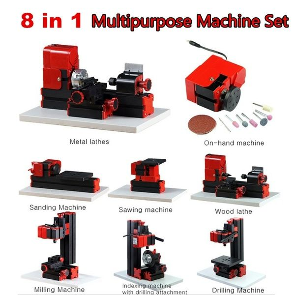 US 6in1 Jigsaw Milling Lathe Drilling Machine Wood//Metal//Acrylic Model DIY Tool