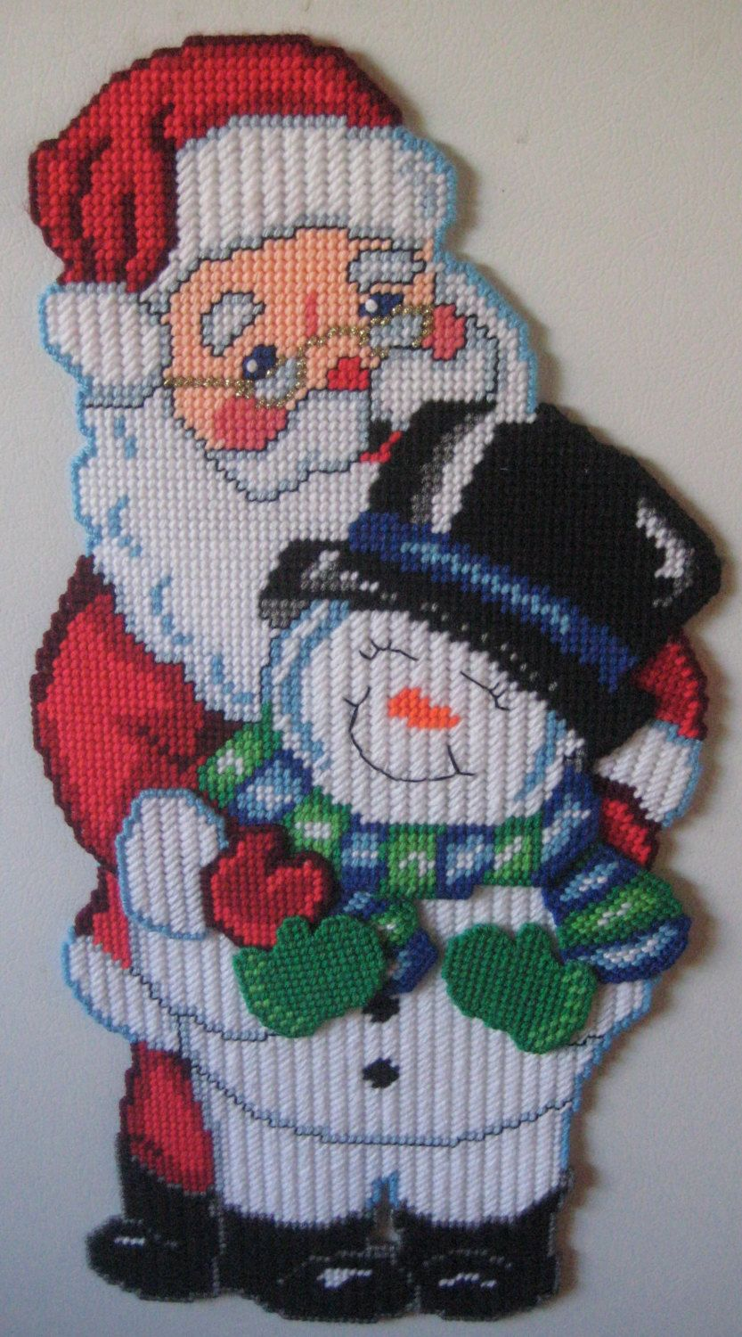 Plastic Canvas Santa Snowman W Magnets On Backside