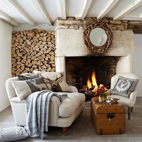 Logs and fireplace