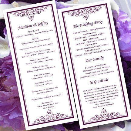 Wedding Program Template Vintage Plum Purple Editable Word
