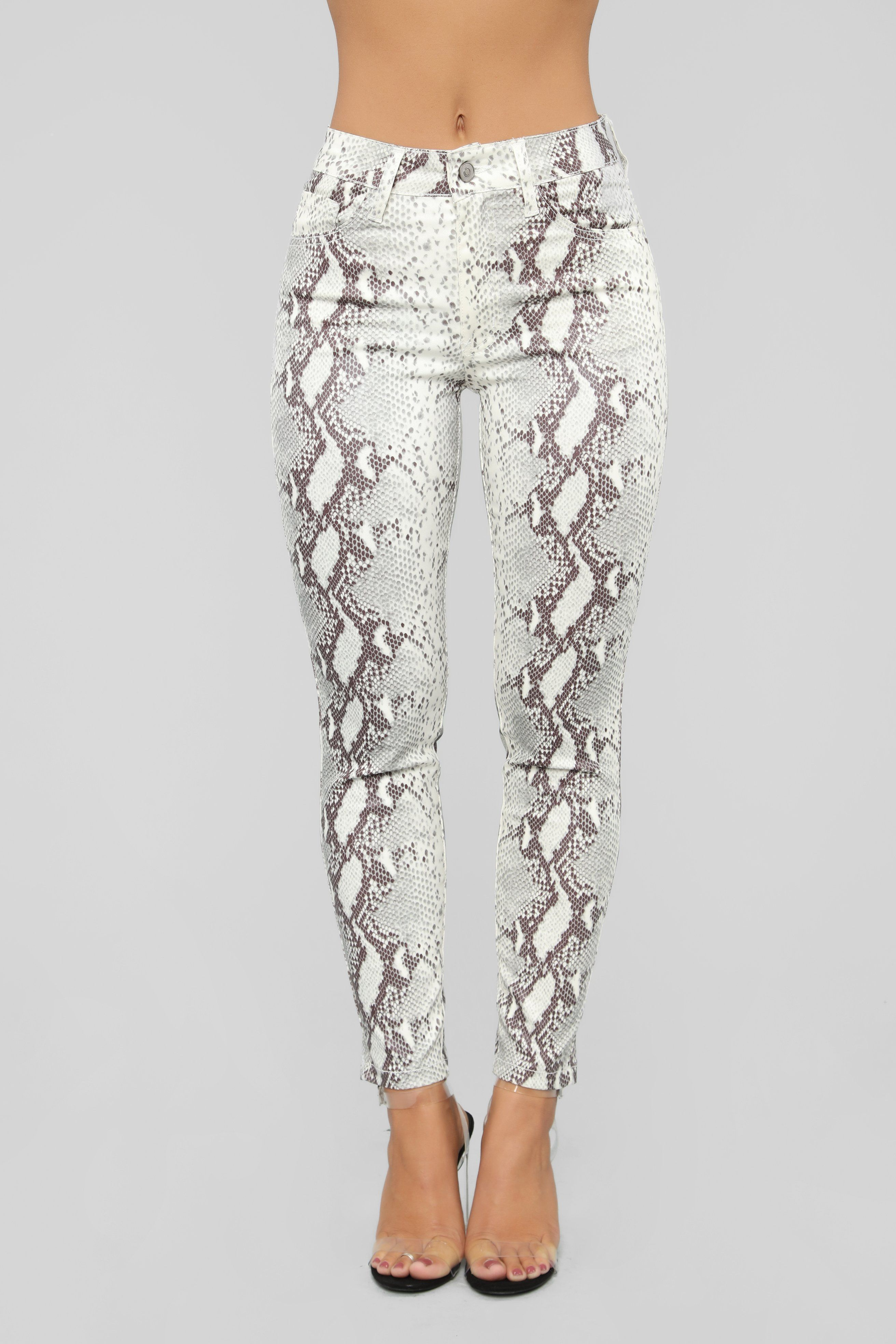 Snakes In The Grass Print Pants Grey Snake print pants