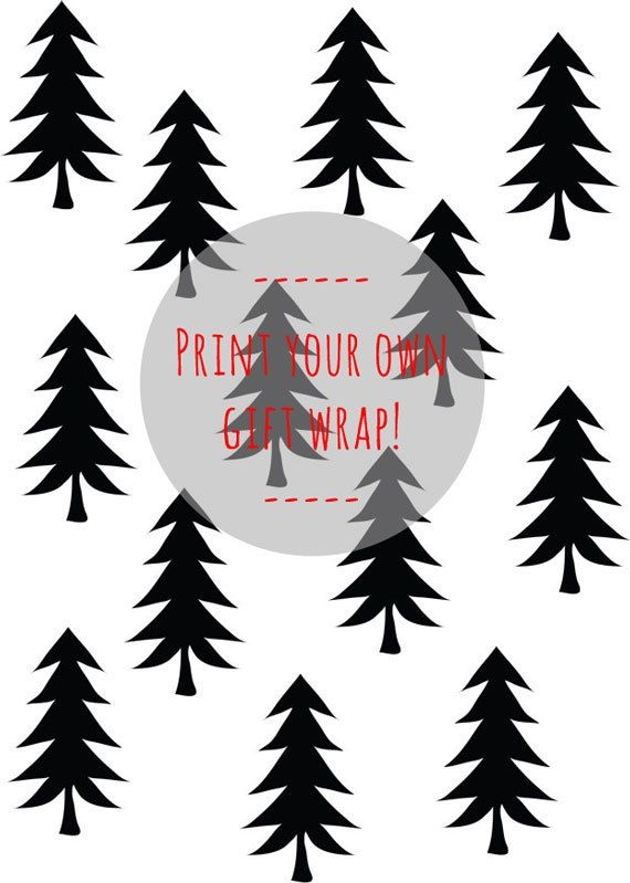 Printable Gift Wrapping Paper  A4 format  Fir Tree by DesignClaud