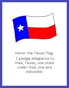 Texas Pledge Of Allegiance Printable Texas Word Wall Cards A