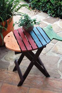 Fish Patio Table Wooden Patio Lanai Furniture. This Multi Colored Fish  Table Is The Perfect Nautical Or Beach Accent.