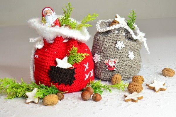 X-MAS BAG - 2er Set Nikolaus- oder Weihnachtssäckchen, zum Gestalten, Befüllen und Verschenken, super für Restgarne #weihnachtsmarktideenverkauf
