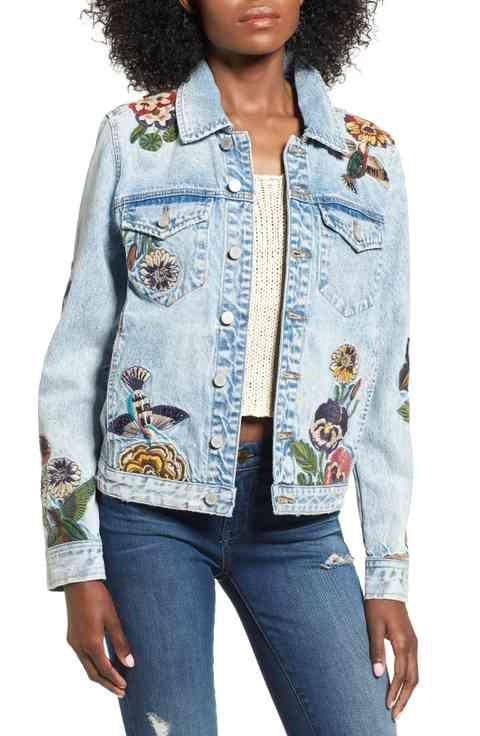 Celebrity style · Lovely embroidered denim jacket.
