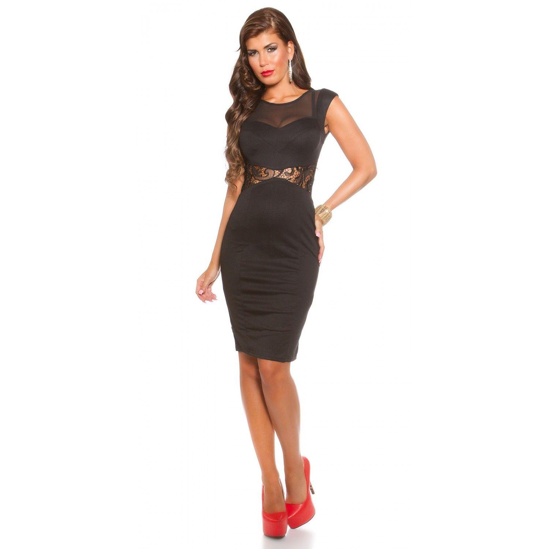 740d7e57c2a7 Pencil Μίντι φόρεμα μαύρο με δαντέλα απο τα Moda Markoni