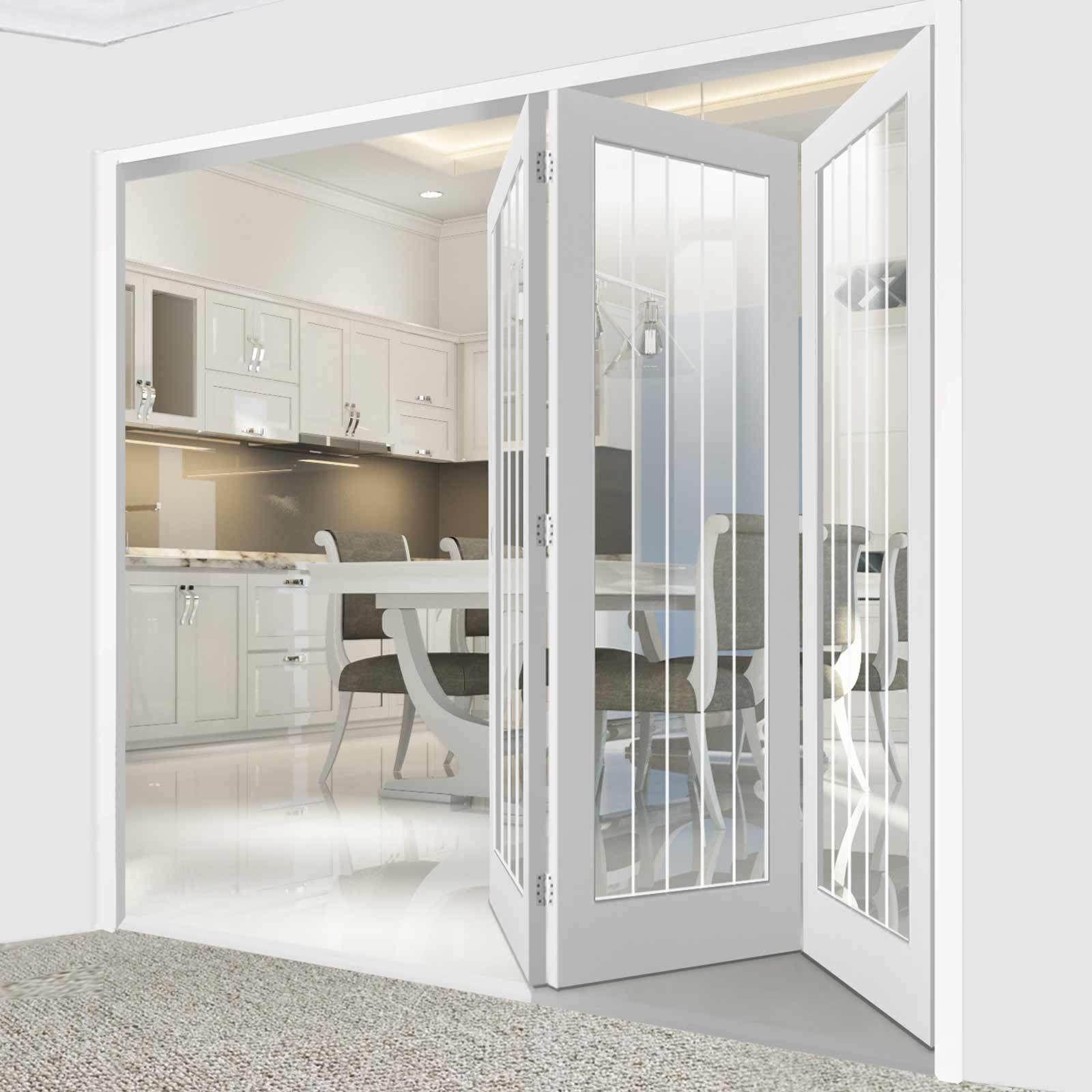 Thrufold Textured Vertical 5 Panel 3 0 Folding Door Etched Clear Glass Directdoors Moderndoors Dining Room Interiors Folding Doors Room Divider Doors
