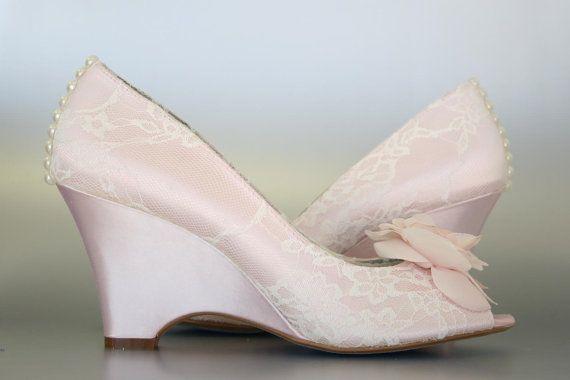 Custom Wedding Shoes Paradise Pink Wedge By Designyourpedestal 325 00