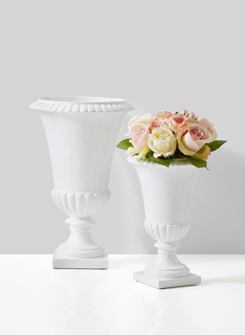 10 1/2in & 14in Gloss White Urns | Urn