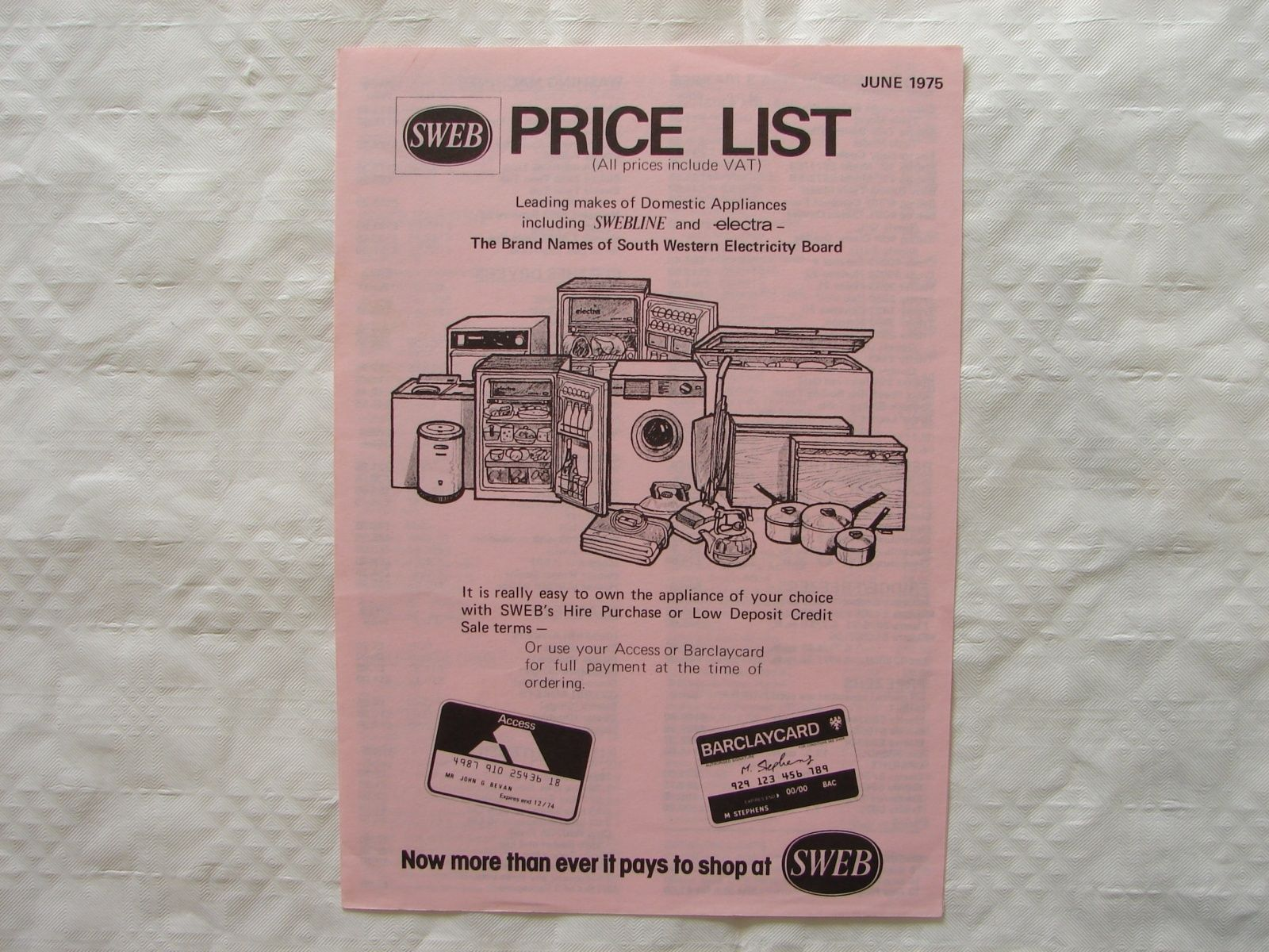 SWEB Price list 1975  Cookers Fridges Freezers Washing Machines Vacuums etc https://t.co/SVu1X5LaiB https://t.co/9QgoP5xhcZ
