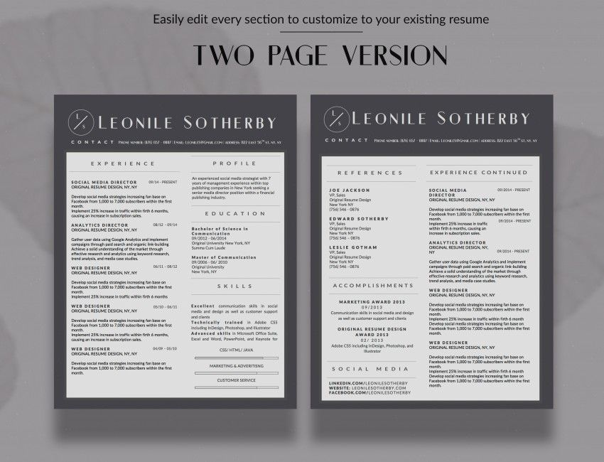 2-PAGE MODERN RESUME TEMPLATE FOR MICROSOFT WORD AND APPLE PAGES - apple pages resume templates