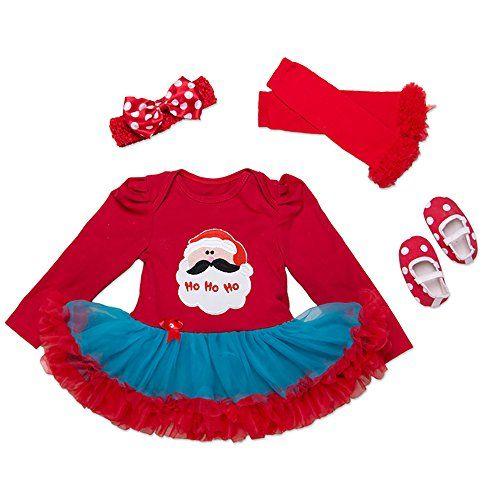 9f488ee74cf3 Baby Girls Christmas Tutu Romper Dress Headband 4PCS Party Outfits ...