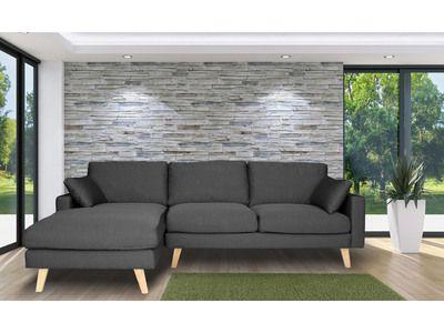 Canapé d angle en tissu 4 places avec coussins et pi¨tement bois
