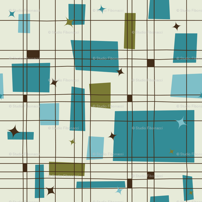 Wallpaper Take 5 18in (teal) Mid century modern fabric