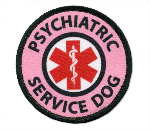 Pink Psychiatric Service Dog Sew On Merrowed Edge Vest Or Pouch