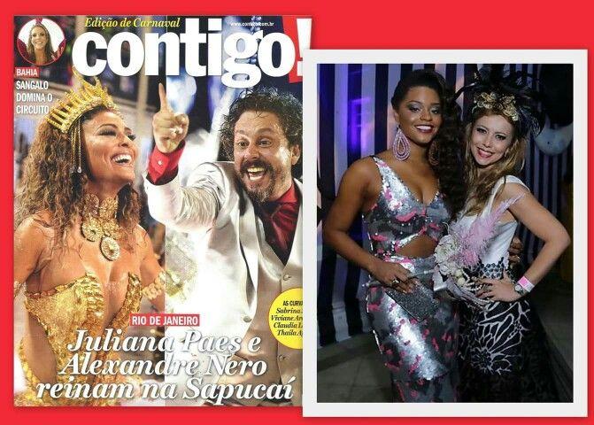Marui Akamine é destaque na revista CONTIGO! em nota sobre o que rolou no Baile de Gala do Copacabana Palace, vestido a linda atriz Juliana Alves com um vestido de paetês  prata exclusivo sob medida.