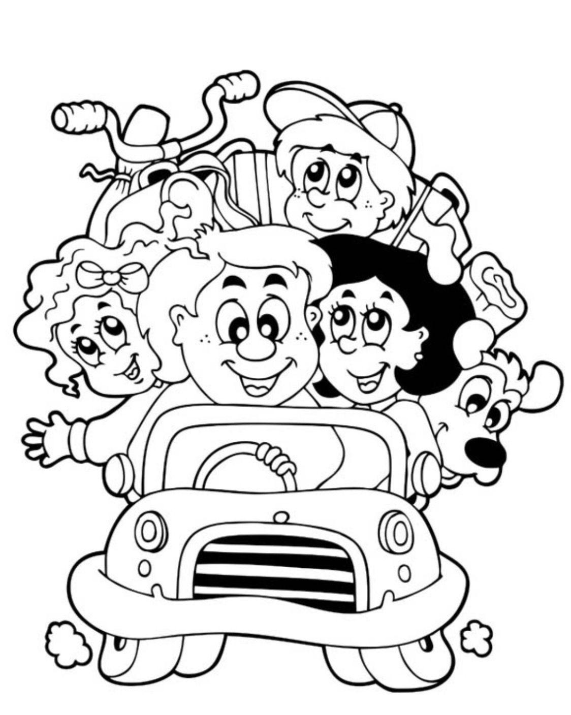Family Road Trip Coloring Page Family Coloring Pages