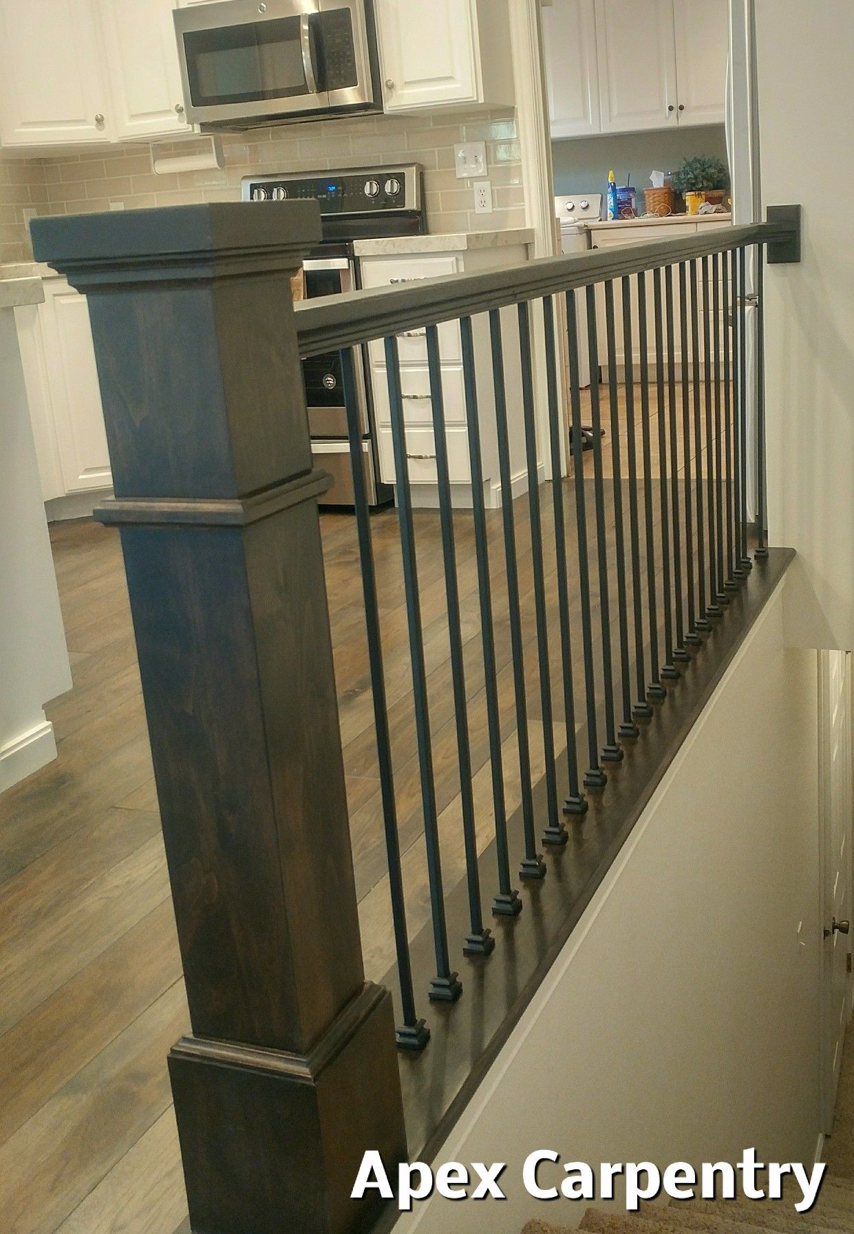 Orem Utah Stair Rail With An Alder Post And Plain Iron